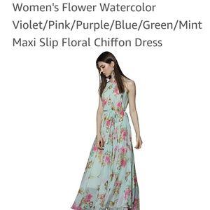 Mint floral butterfly chiffon dress new